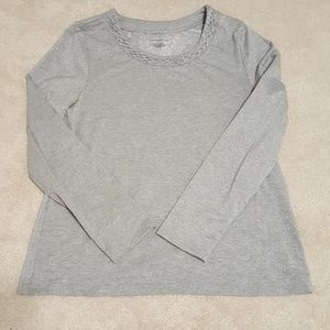 Gray, silver flecks long sleeve top.